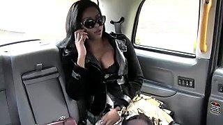 Busty ebony amateur interracial in fake cab