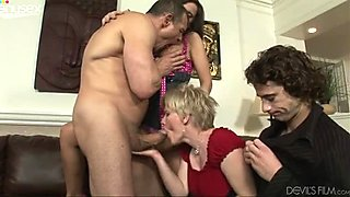 Husband and kinky wife arrange dirty bisexual party