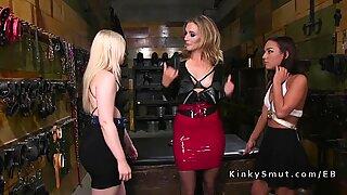 Mistress anal fucks two lesbian babes