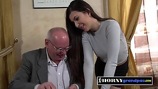Naughty teachers pet gets her titties sucked by horny senior
