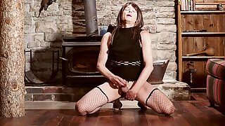 Trans Sissy Crossdresser Sensual Cock Stroking While Sucking a Dildo Up Her Ass and Moaning Sexy