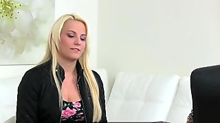 Busty Lucy finger fucked by agent